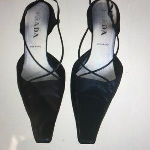 Black Prada sling backs